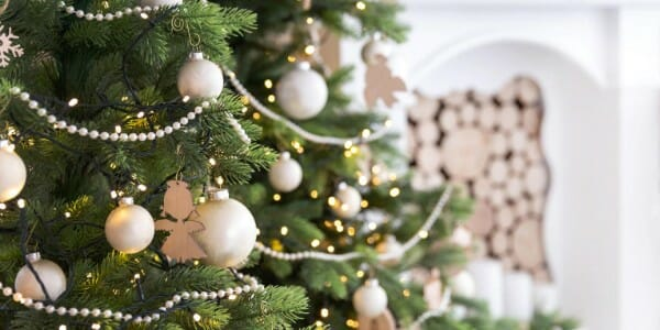 Christmas tree with white beads and ornaments