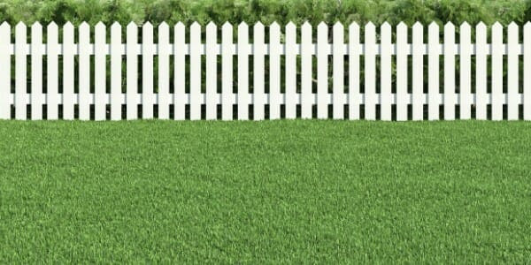 Green grass with white picket fence